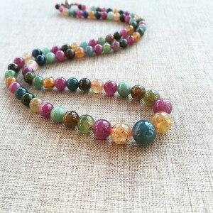 Image 5 - JoursNeige collar de piedra de turmalina Natural, cadena de cuentas redondas, collar de cristal de la torre, regalo de la suerte para mujeres y niñas, joyería Popular