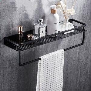 Image 1 - 黒バスルーム棚スペースアルミシャワーバスケットコーナー棚浴室シャンプーホルダーキッチン収納ラックアクセサリー