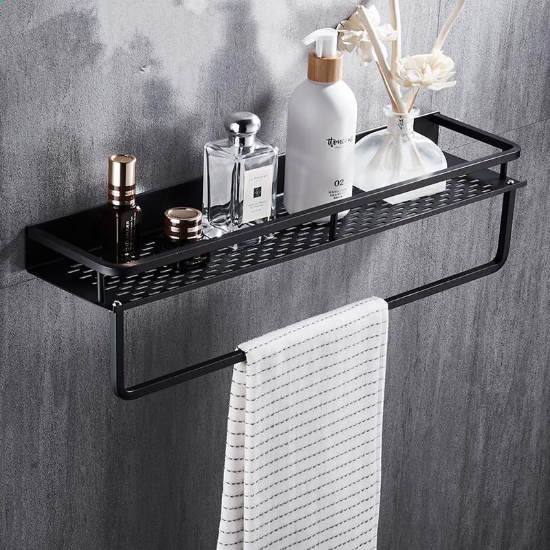 Schwarz Badezimmer Regal Raum Aluminium Dusche Korb Ecke Regale Bad Shampoo  Halter Küche Lagerung Rack Zubehör
