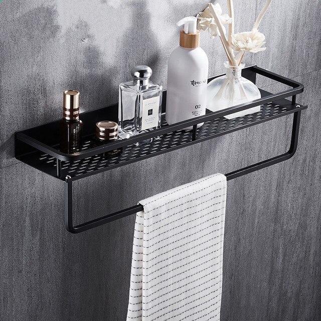 Siyah banyo raf uzay alüminyum duş sepeti köşe rafları banyo şampuanı tutucu mutfak depolama raf aksesuarları
