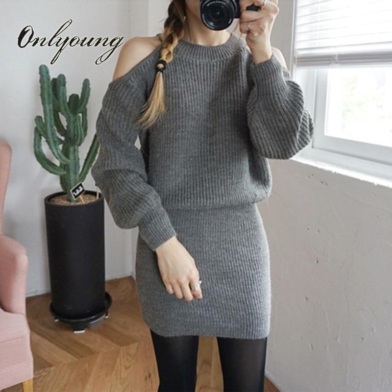 Onlyoung 2017 Autumn Winter Women Knitted Dress Long Sleeve Wrap Dress Off Shoulder Grey Black Short Sweater Dress
