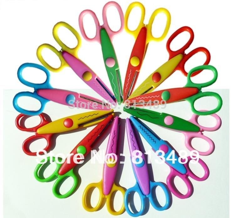 12 Pcs/lot (6 Designs) Scissors Handmade Craft Decoating Tool Diy Photo Album Laciness Scissors Scrapbooking Album