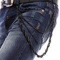 Punk 3 Strands Hombres Mujeres Pantalones Cintura Clave de La Cadena de Metal Negro CUERDA Estilo Billetera Cadena de Los Pantalones Vaqueros 3 Capas Cadena Giro Pantalón KB13