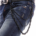Punk 3 Strands Men Women Black Metal Trousers Waist  Key Chain ROPE Style Wallet Jeans Chain 3 Layers Twist  Pant Chain KB13