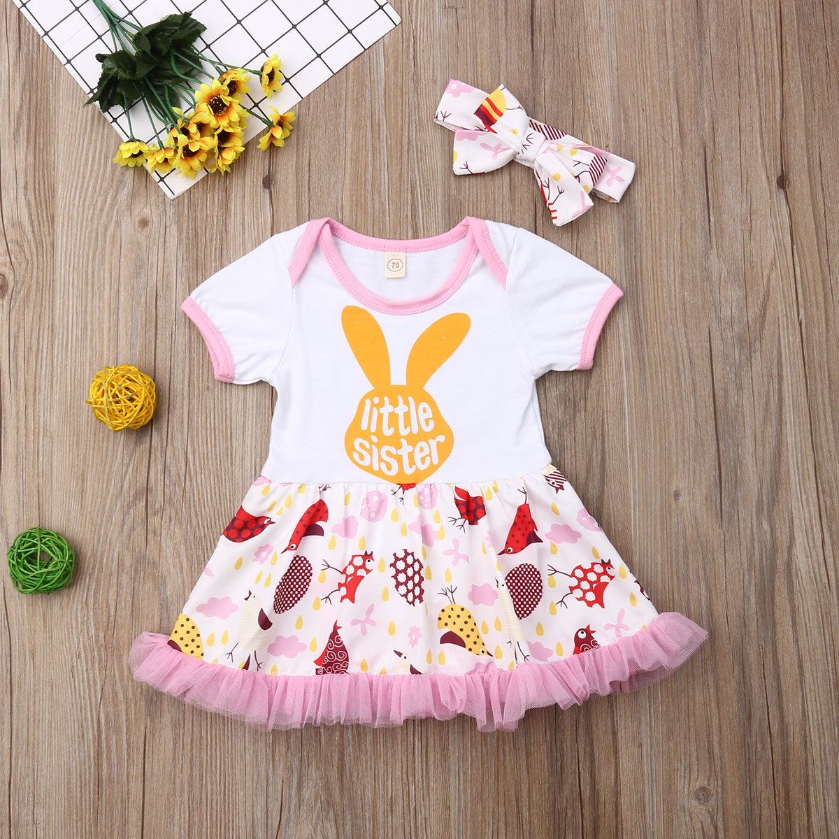 Imcute Baby Girls Cartoon Dress Princess Tutu Dresses Little Sister Clothes in Dresses from Mother Kids