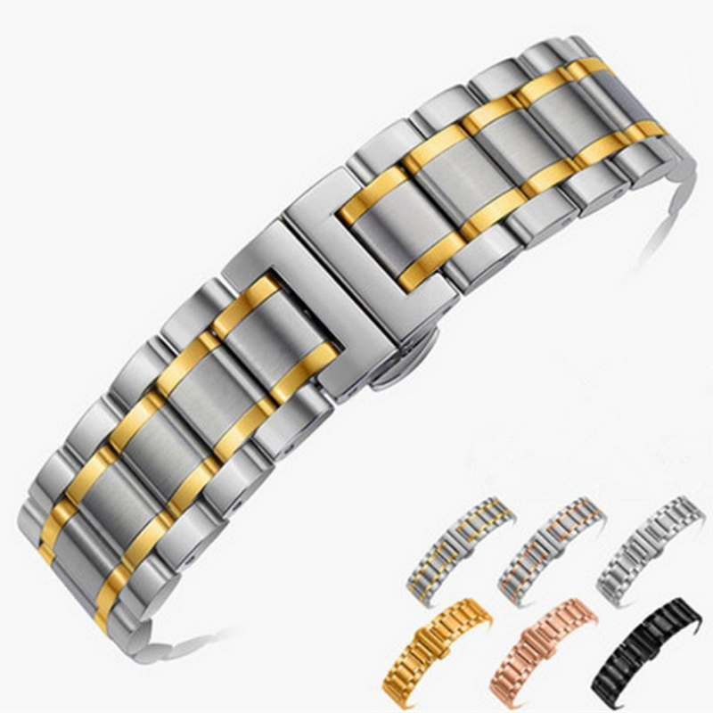 14mm 16mm 18mm 20mm 22mm 24mm Stainless Steel Watch band Strap Bracelet Watchband Wristband Butterfly Black Silver Rose Gold solid stainless steel bracelet watch strap metal wristwatches band pink gold silver watchband belt butterfly clasp 18mm 20mm22mm