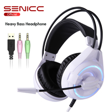 Get more info on the SENICC W251 3.5mm and USB Braided Cable Gaming Headset Light Weight LED Gamer Headphones with Rotated Mic For PS4 PC Games LOL