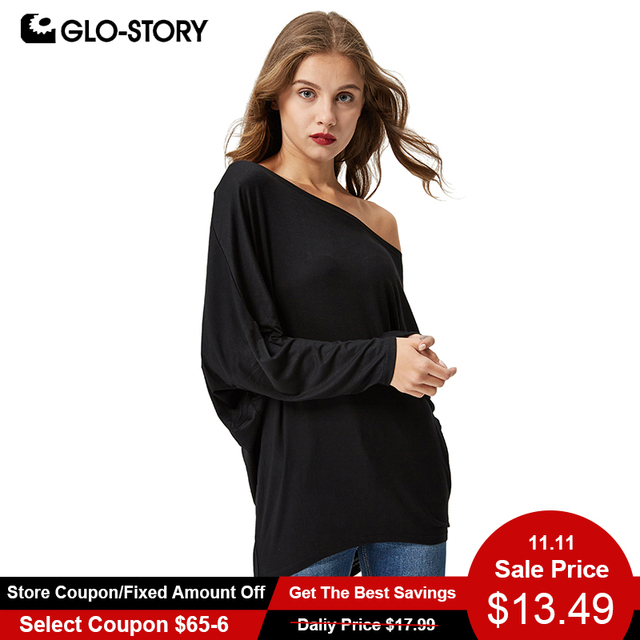 addb45218a7 GLO-STORY Women s off shoulder Blouse 2018 Fashion Casual Long Sleeve loose shirt  tops 2695
