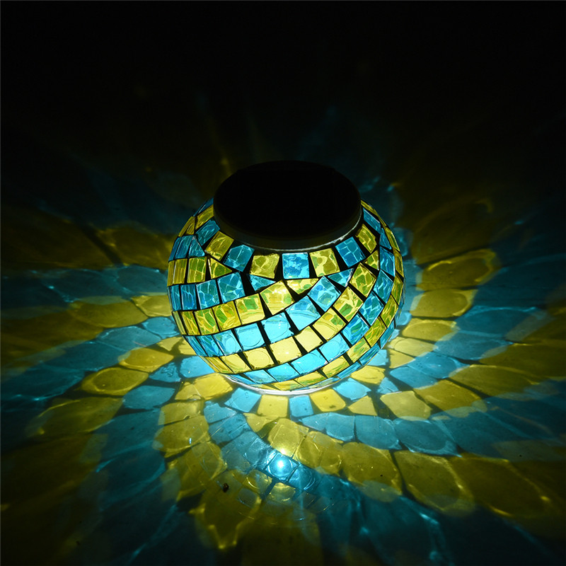 Мозаика Стекло Мяч садовые фонари Цвет Изменение светодиодный солнечный свет Водонепроницаемый солнечные Настольные лампы для вечеринок Аксессуары Рождество