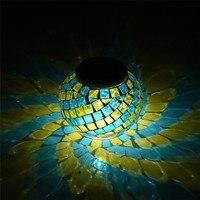 Mozaik Cam Top Bahçe Işıklar Renk Değiştirme LED Güneş Işık Partiler için Su Geçirmez Güneş Enerjili Masa Lambaları Süslemeleri Noel
