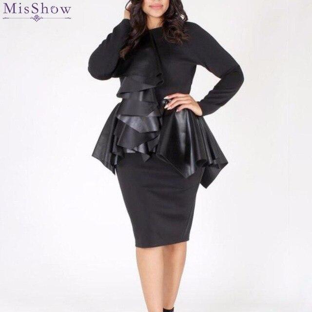 Misshow Plus Size Faux Leather Bodycon Dress Women Solid Black Long