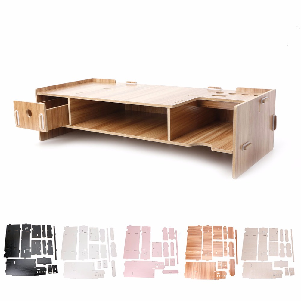High Quality Wooden Desktop Monitor Riser TV Stand Holder Over Keyboard Desk Organizer Storage Space For Computer Laptop C26 ...