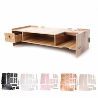 High Quality Wooden Desktop Monitor Riser TV Stand Holder Over Keyboard Desk Organizer Storage Space For Computer Laptop C26
