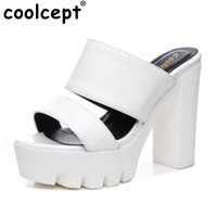 Coolcept Size 34 41 Summer Women Platform Sandals High Heels Thick Heels Fashion Shoes Women Ladies