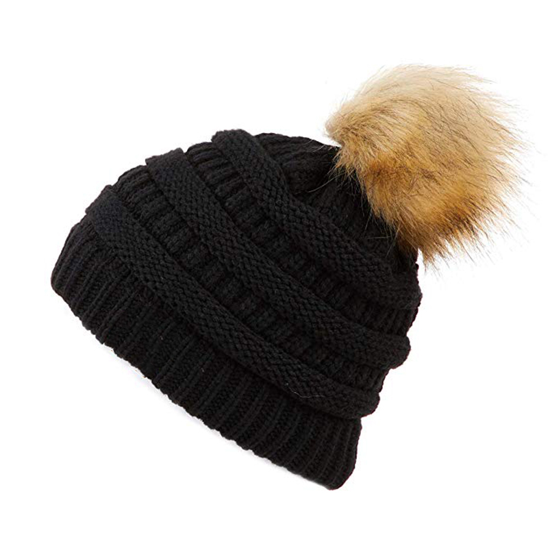 Winter Knitted bonnet   Beanie   Pompom Ball Hat Female Winter Solid Hat For Women Cotton Warm Cap Thick Women's   Skullies     Beanies