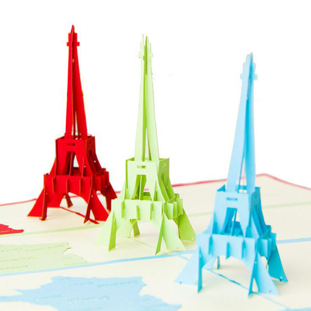 3D Papier Skulptur Von Eiffelturm Grußkarte Folding Einladungskarte  Dekorative Handwerk Ereignis Partei Liefert Geburtstag Geschenk