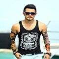 Regatas homens fitness algodão homens sem mangas t camisa letra impressa casual sporting regatas 2016 nova hip hop tops tamanho M-XXL