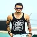 Tank Top de fitness algodón para hombre sin mangas de la camiseta impresa letra casual deportivo Tank Top 2016 nuevo hip hop tops talla M-XXL