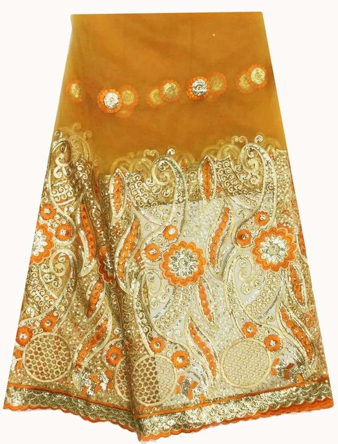Embroidery Designs Polyester High Quality African Cord Lace Coral