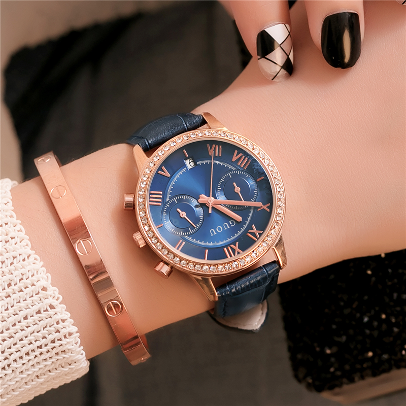 GUOU relogio feminino Women Watch 2018 Luxury Brand Vintage Roman Numeral Ladies Dress Wrist Watches Blue Leather Women Clock 2018 top brand geneva brand watches women casual roman numeral watch for women pu leather quartz wrist watch relogio gold clock