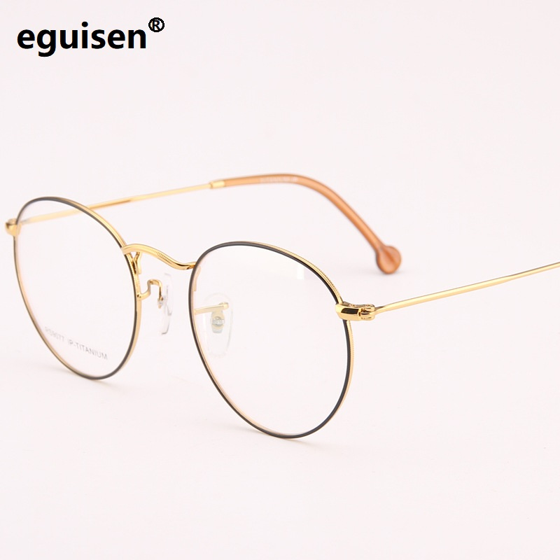 50-21-140 Pure titanium retro glasses frame ultra - light fashion trend of myopia male round box female spectacle