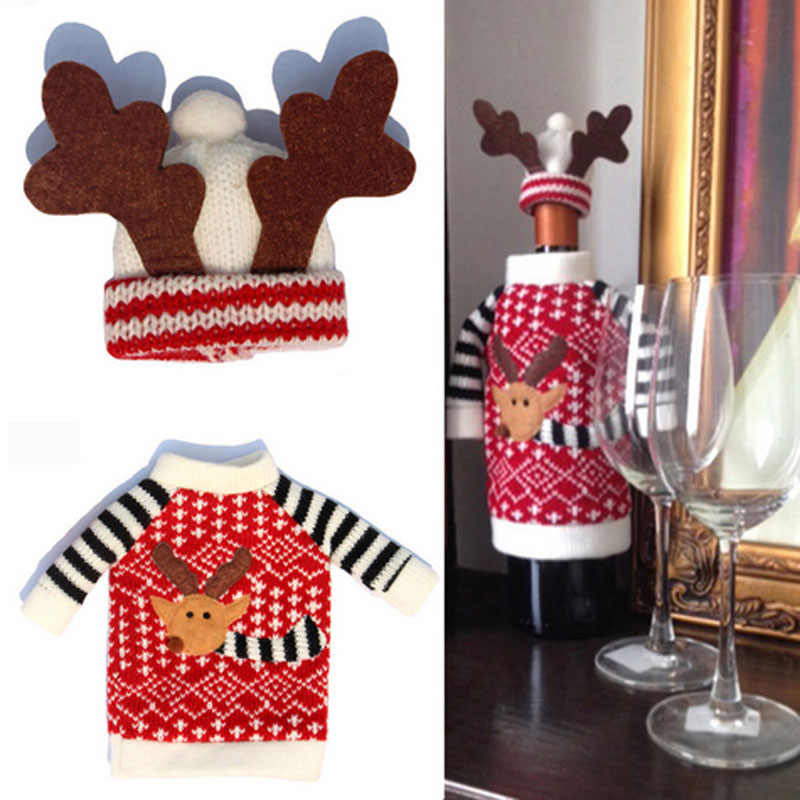 1Set Cute Sweater Red Wine Bottle Cover Bags Santa Claus Dinner Christmas Table Decoration Clothes With Hats Home Party Decors