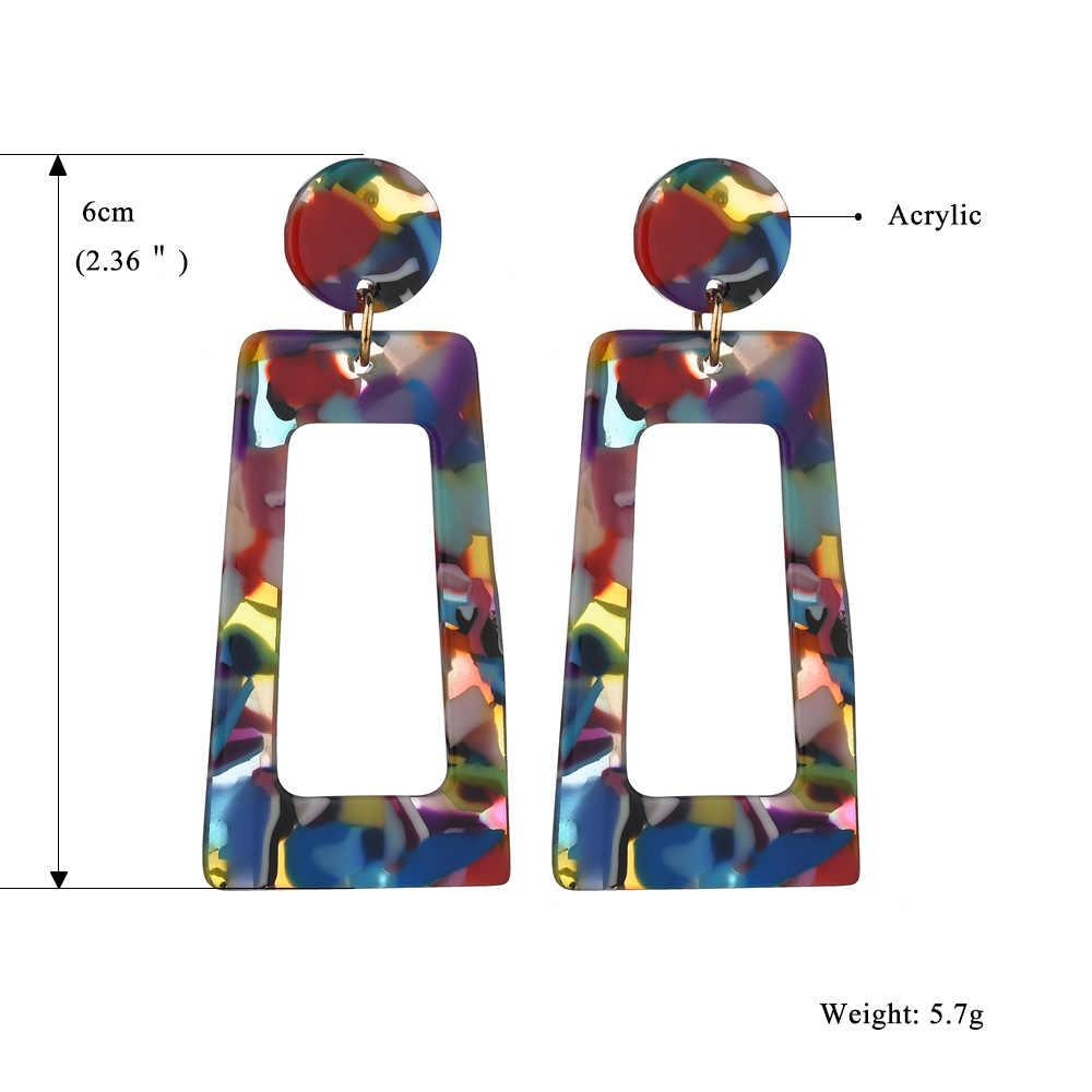 MESTILO Personality 2019 trapezoidal grandes pendientes largos de gota de acetato acrílico para mujer rectángulo de concha de tortuga joyería ZA