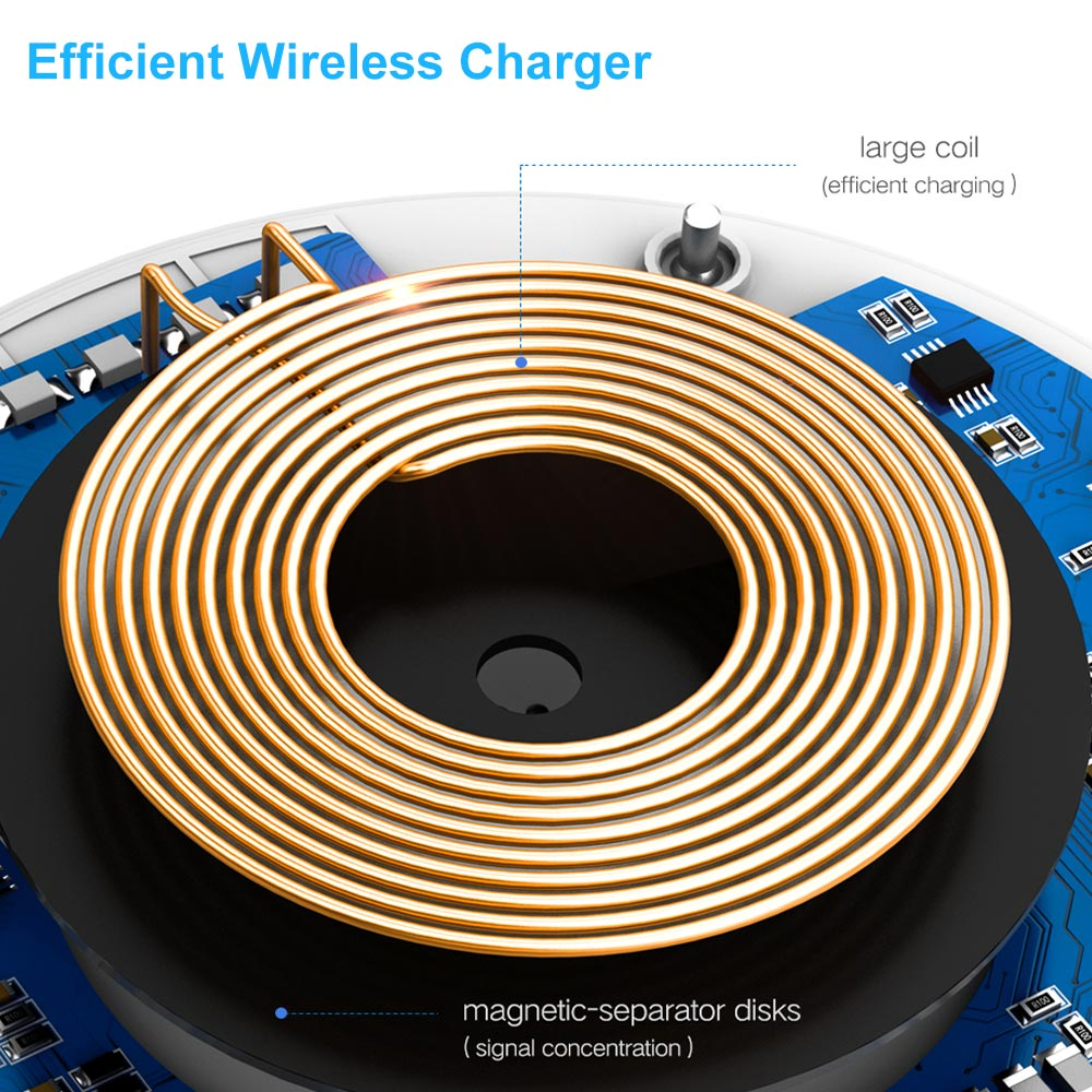 DCAE QI Wireless Charger Ultra Thin Desktop Mini Wireless Charging Pad for iPhone XS MAX XR X 8 Plus Samsung Note 9 S9 S8 Xiaomi 2