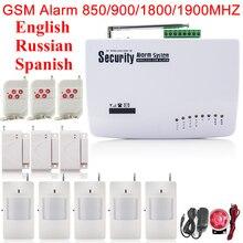 Два Антенны Беспроводной 433 мГц Домашней Безопасности GSM Сигнализации Английский Русский Испанский Голос Дверной Датчик Движения PIR Детектор Комплект