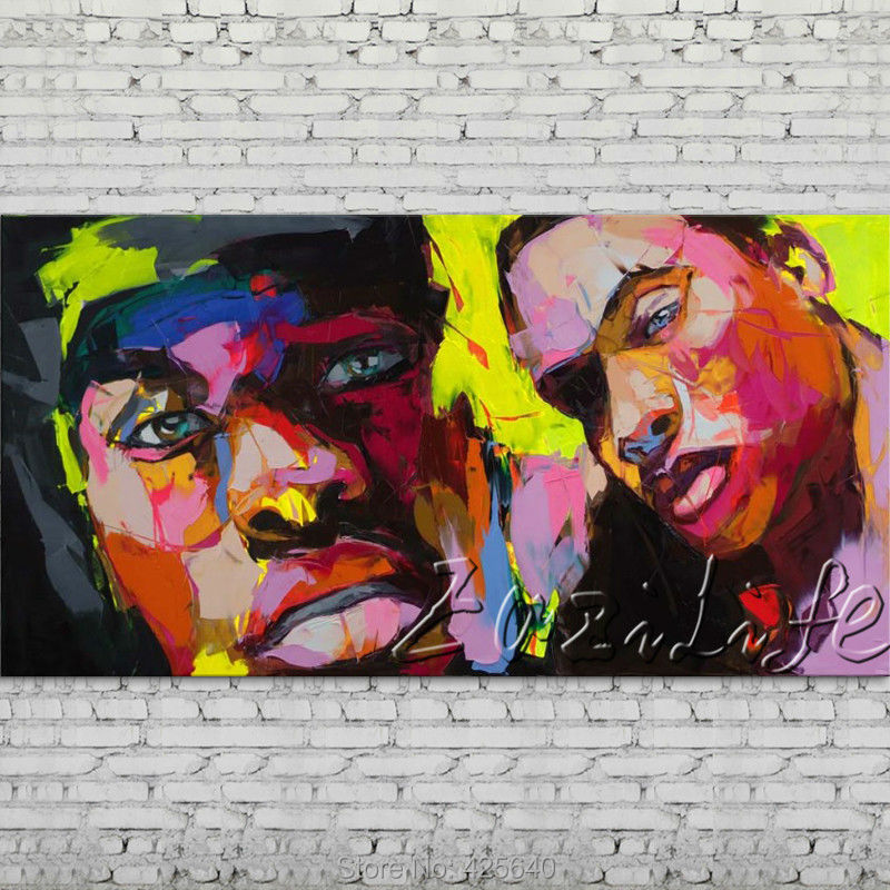Palette font b knife b font portrait Face Oil painting Character figure canvas Hand painted Francoise