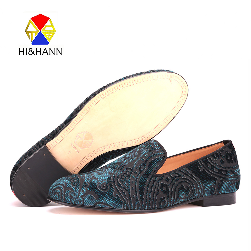 2017 new arrival Handmade men blue velvet shoes with Paisley printing Wedding and Party men luxurious loafers male's flats luxurious handmade embroidered motif paisley men velvet loafer slippers men wedding and party shoe size 4 14 free shipping