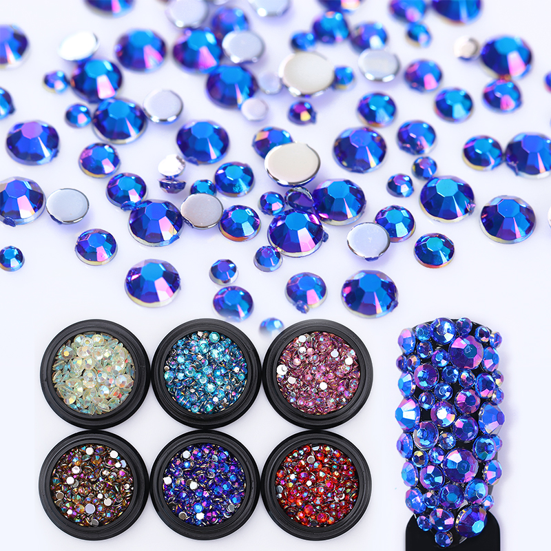 Colorful AB Flatback Rhinestones 3D Nail Decoration Non Hotfix Crystal Multi-size Stud Gems Manicure Nail Art Decoration 1pack colorful mixed size nail art rhinestones shiny ab crystal non hotfix flatback glass 3d diy gems manicure nails decorations
