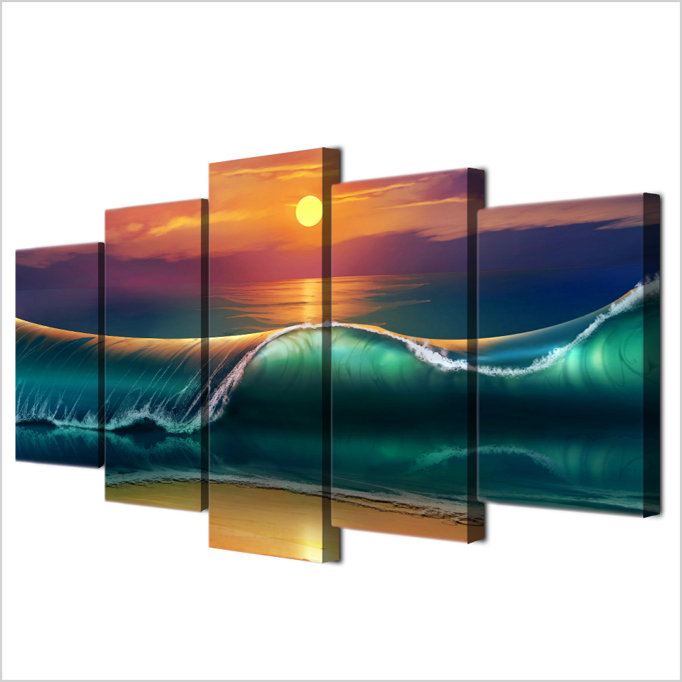 Kumsal duvar boyas rengi ile modern ve k ev dekorasyonu - 5 Par A Hd Bask Boyama Sunset Beach Dev Dalgalar Deniz Manzaras Modern Dekoratif Yatak Odas Oturma