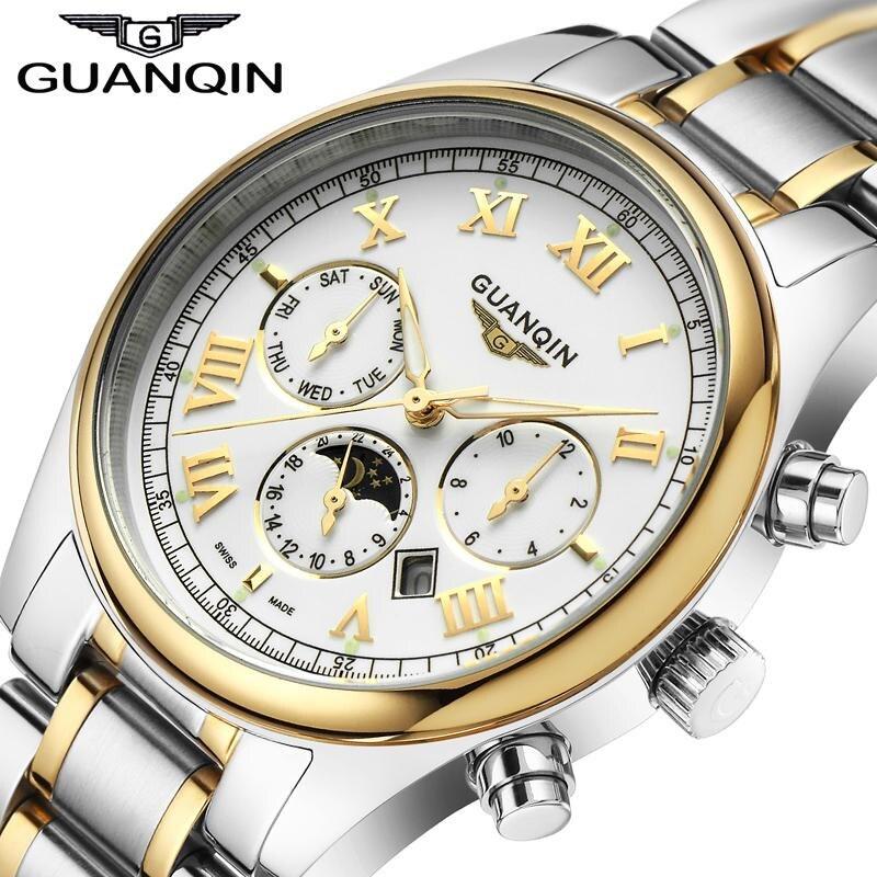 ФОТО Relogio Masculino 2016 GUANQIN Watches Men Luxury Brand Quartz Watch Clock Full Steel Watch Reloj Men Casual Business Wristwatch