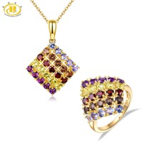 Hutang Stone Jewelry Sets Rings Pendant Natural Tanzanite Solid 925 Sterling Silver Ring Gemstones Garnet Fine for Women Girls