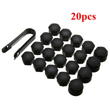 20pcs/lot New ABS Matte Black 17mm Wheel Lug Bolt Nut Cap Cover With Removal Tool Key Special For Audi Auto Styling Accessories