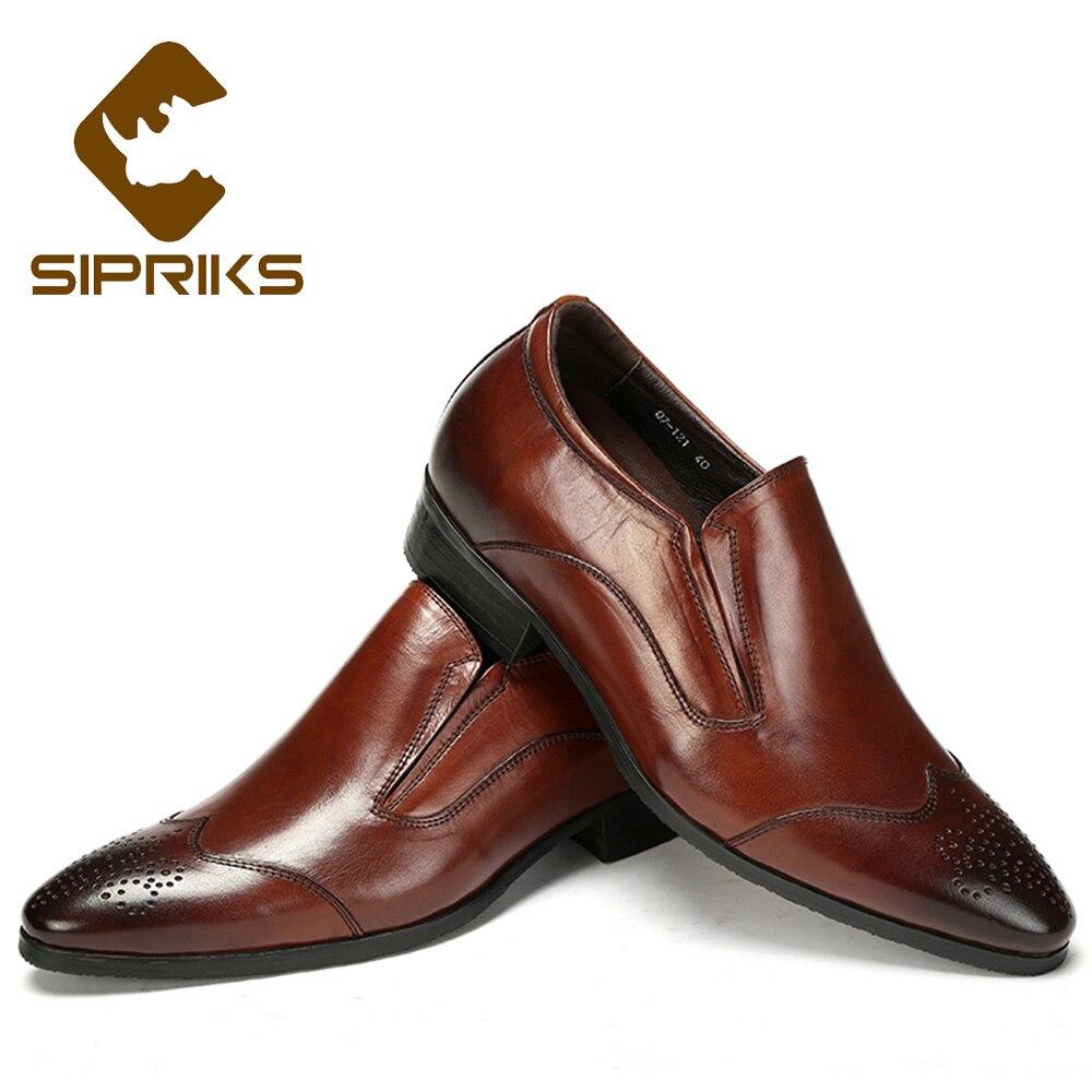 Sipriks Mens Slip On Dress Shoes Genuine Leather Wingtip Loafers Hidden Heel Shoes For Men American Business Office Work Shoes