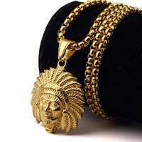 2016 Stainless Steel Gold Plated American Indian Chief Head Pendant Necklace Gothic Indians Head Hip Hop
