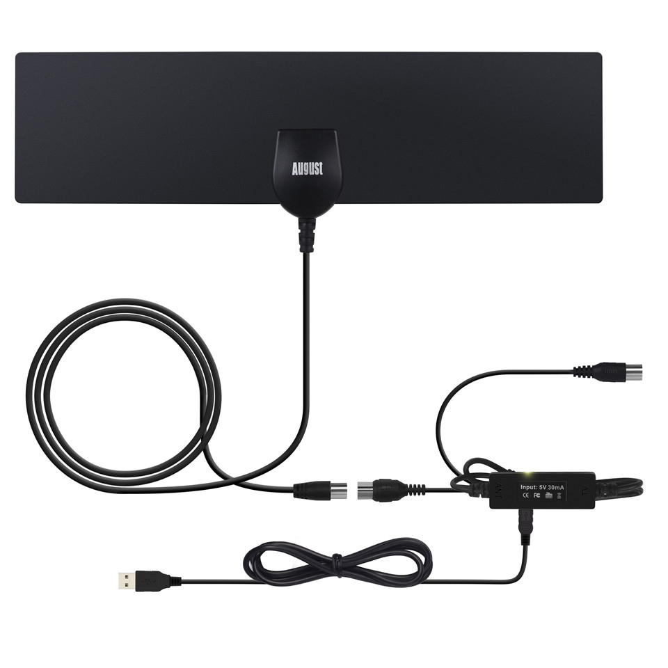 August DTA425 High Gain Digital TV Antenna with Amplifier Signal Booster Indoor Antennas for DVB-T/DVB-T2 HD Television Aerial
