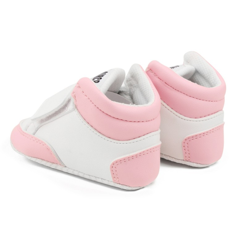 Black/pink Boys Newborn Baby Girls Classic Heart-shaped PU Leather Shoes First Walkers Tennis Lace-Up Baby Shoes For All Season