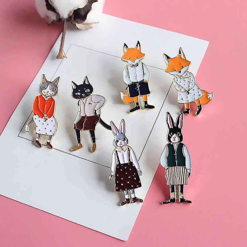 Высокое качество Женщины унисекс Мужские мультфильм кролик 1 шт. Новый Кот сплав уникальный прекрасное животное чистый Изящные лиса броши