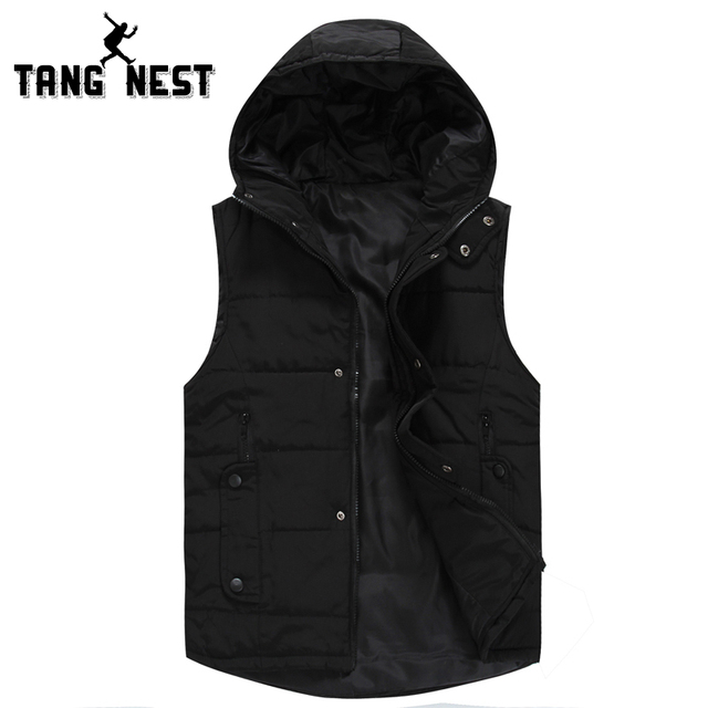 TANGNEST Colete Masculino 2017 Fashion Casual Slim Men Vest Hooded Winter Warm Soft Vest Men Black White Solid Color Vest MWB237