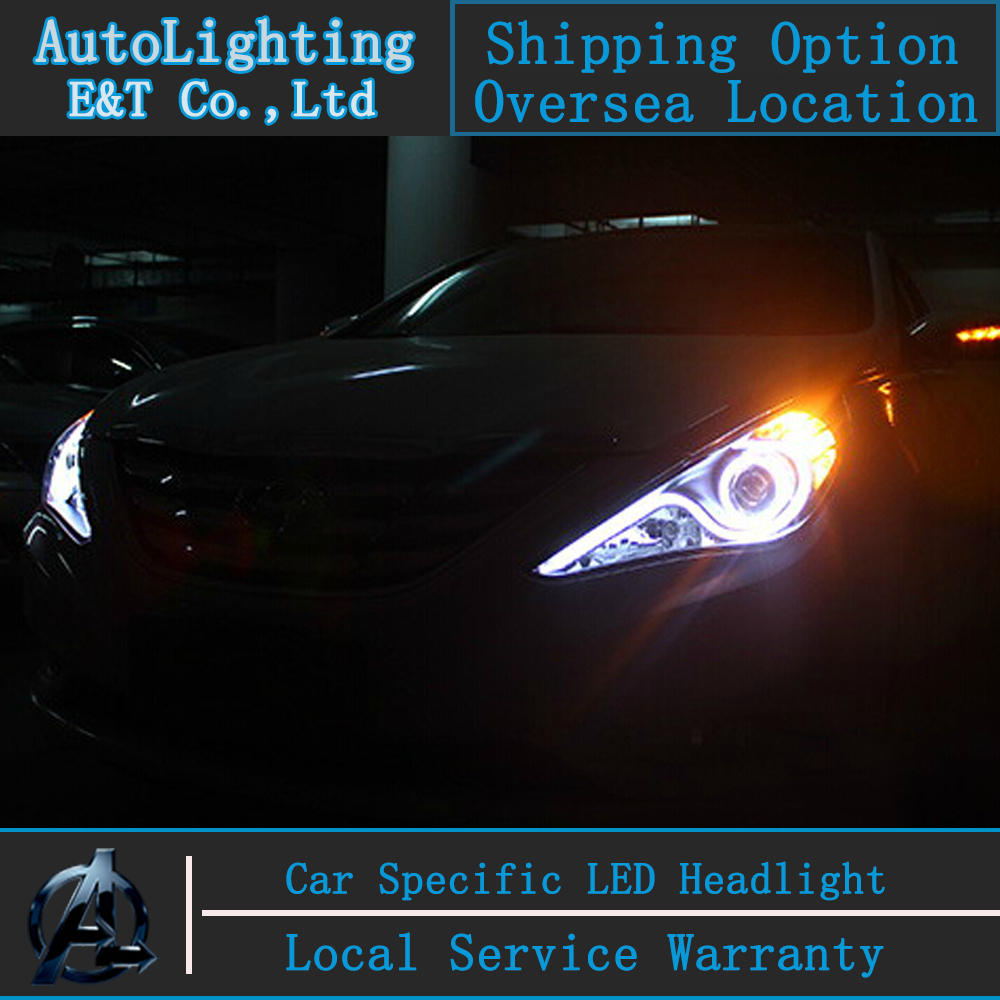 Car Stylling Led head lamp for Hyundai Sonata led headlights 2011-2014 S-type Angel eye led drl H7 hid Bi-Xenon Lens low beam