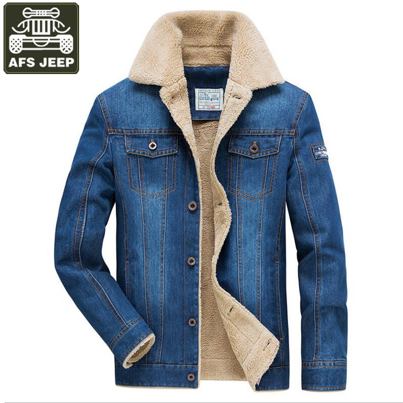Afs Jeep Brand Winter Jacket Men Jeans Jacket Thick Warm