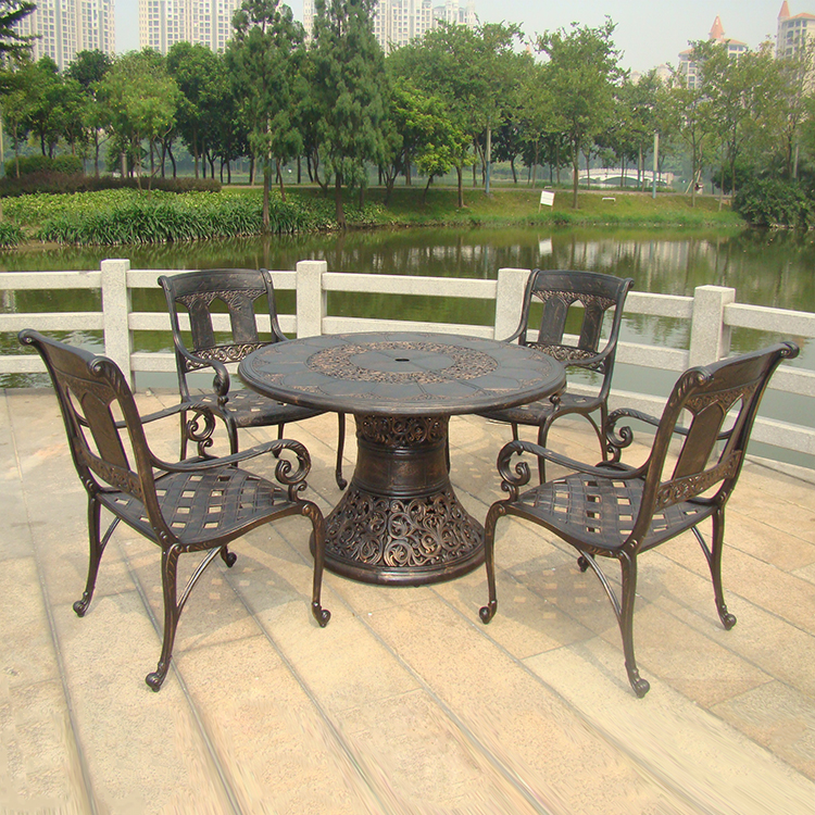 5-piece Heavy Duty All-weather Cast Aluminum Patio Dining Coversation Chat Set Chairs With Table In 46 Inch