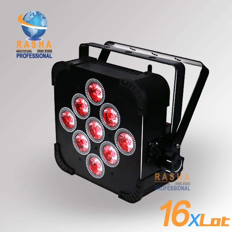 16X LOT Rasha Hot Sale 9*10W 4in1 RGBW/RGBA Non Wireless LED Slim Par Light LED Par Light Stage Event Party 8x lot hot rasha quad 7 10w rgba rgbw 4in1 dmx512 led flat par light non wireless led par can for stage dj club party page 1