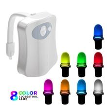 1 pièce 2 pièces 8 lampes LED changeantes de couleur lumière corps salle de bains mouvement bol toilettes veilleuse activé On/Off lumières siège capteur lampe