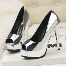 Ou Mo brand 11cm High heels women's sandals Thick bottom Waterproof platform 4.5cm Sexy nightclub Female Heightening shoes
