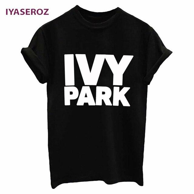 Iyaseroz Новинка 2017 года Плющ Парк письма печатаются женщин футболка смешные короткий рукав футболки унисекс для леди halajuku футболки Hipster