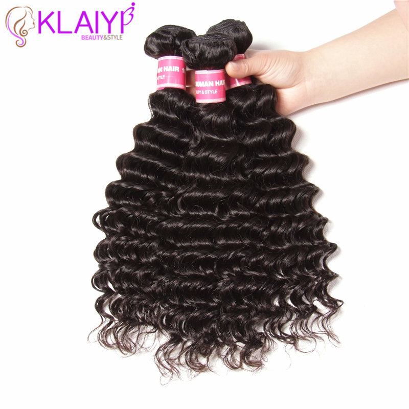 Klaiyi Hair Products Deep Wave Indian Hair Weave 3 Pieces Human Hair Bundles Tangle Free Remy